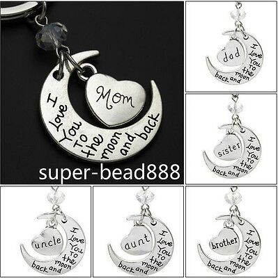 NEW I love you letter moon family key chain Key Ring Set Gift 10 Style HOT