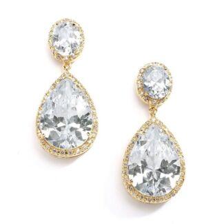 "Fletcher & Grace ""Simone"" Gold Cubic Zirconia earrings - NEW"