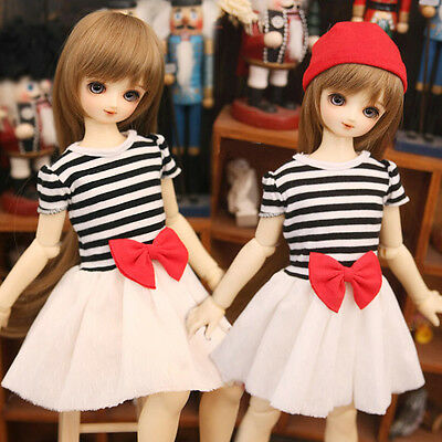 1//3 1//4 1//6 BJD Clothes Pink /& White Off Shoulder for BJD Girl Doll AOD MID LUTS
