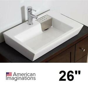"NEW AI 26"" RECTANGLE VESSEL SINK ABOVE COUNTER WHITE - BATH BATHROOM SINKS BASIN BASINS VANITY VANITES CABINETS"