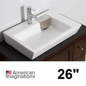 "NEW AI 26"" RECTANGLE VESSEL SINK ABOVE COUNTER WHITE - BATH BATHROOM SINKS BASIN BASINS VANITY VANITES CABINETS"