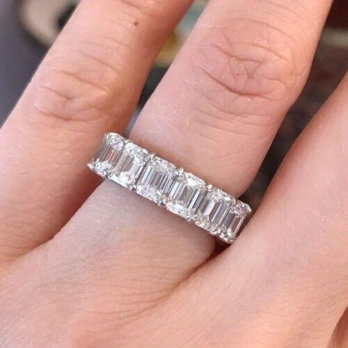 8.76 Ct Emerald Cut Diamond Eternity Band Ring In Platinum Size 5- Hm1929sz