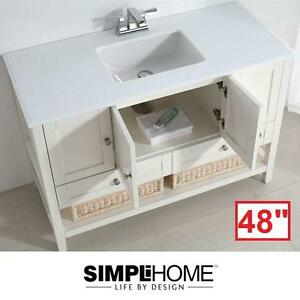"NEW* SIMPLI HOME 48"" VANITY COMBO - 111987995 - CAPE COD WHITE CABINET QUARTZ MARBLE TOP BASIN - BATH BATHROOM FURNIT..."