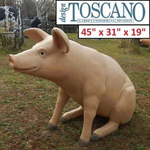 "NEW DESIGN TOSCANO GIANT PIG STATUE NE20505 185834915 SITTING IN HOG HEAVEN 45""x31""x19"""