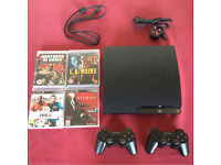 PlayStation 3 slim 250gb + 2 controllers, BLUETOOTH HEADSET and 4 GAMES