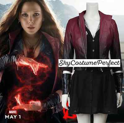 FREE SHIP Age of Ultron Movie Scarlet Witch Wanda COSTUME Cosplay Marvel WOW! - Marvel Scarlet Witch Costume