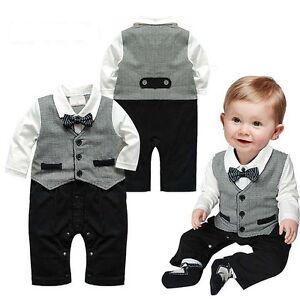 Baby Jungen Kinder Strampler Anzug Smoking Gentelman Geschenk Geburt Taufe 74