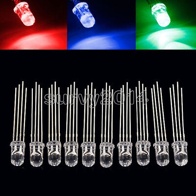 1002005001000pcs 5mm 4pin Rgb Tri-color Common Anode Led Light Red Green Blue