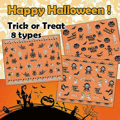 Halloween ! Nail Art Stickers Self-adhesive 3D Gold Pumpkin Vampire Spider Skull - Pumpkin Spiders