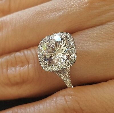 1.70ct Natural Round Halo Pave Split Shank Diamond Engagement Ring - GIA