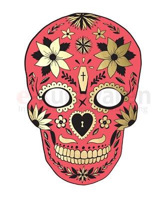 Maske Dia De Los Muertos Rot 19cm/28cm Halloween Mumie Party Kostümparty ()