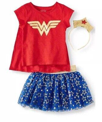 Toddler Wonder Woman Shirt (Wonder Woman Toddler Girls Costume T-Shirt Tutu Skirt & Tiara Headband  Size)