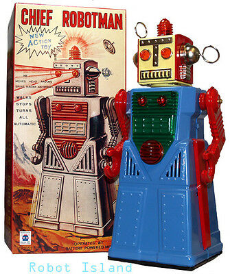 Tin Toy Robot Chief Robotman Blue Battery Operated Space Toy