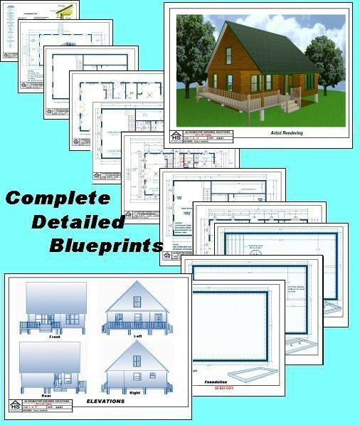 28x28 cabin w loft plans package blueprints material
