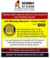"♦♦♦ Leading Resume Company in the Area ~ ""Resumes By Elaina"" ♦♦♦"