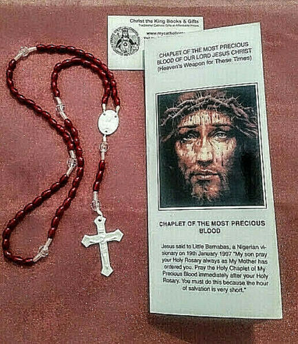 PRECIOUS BLOOD CHAPLET W/LAMINATED PRAYER FOLDOUT INCLUDES LITANY & CONSECRATION