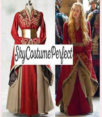 CUSTOM ! FREE WW SHIP Cersei Lannister Game of Thrones Dress RED Women Medieval