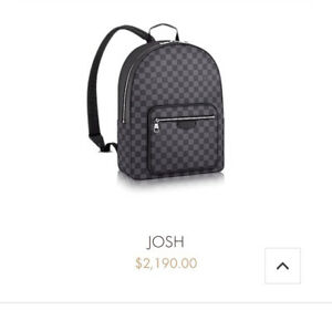 Louis Vuitton JOSH backpack and matching wallet