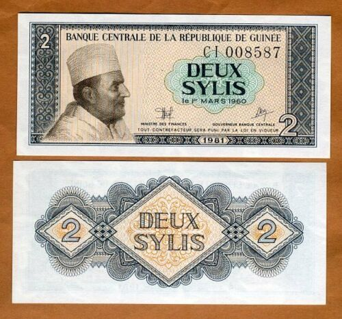 Guinea, 2 Sylis, 1981, P-21, UNC > King Mohamed V of Morocco