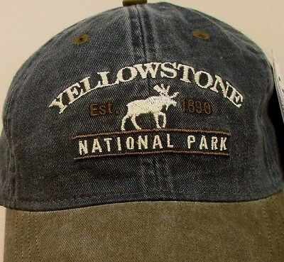 Yellowstone Hat Cap National Park Wyoming Prefaded Usa Embroidery Moose New