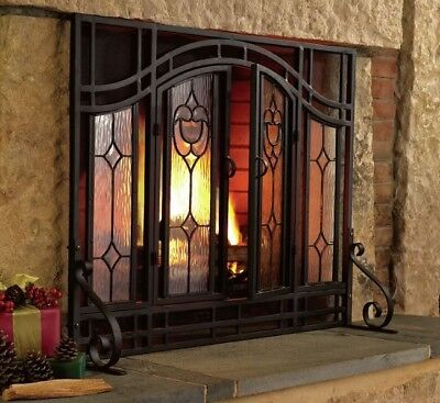 Tempered Glass Fireplace Screen Doors Black Mesh Steel Fire Heat No Sparks Large ()