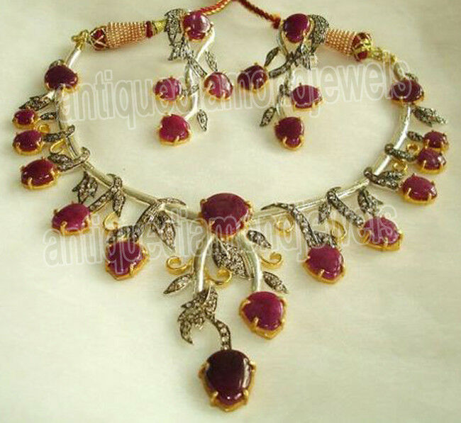 6.80ct Rose Cut Diamond Antique Look 925 Silver Ruby Gemstone Necklace