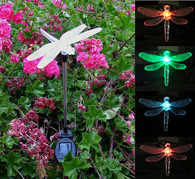 Solar Powered Dragonfly Garden Yard Stake Color ...