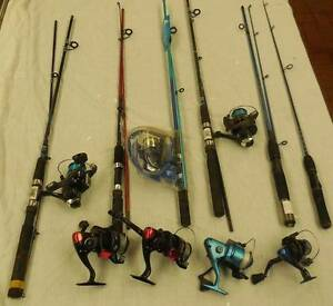 Fishing rods (6) and reels (7) for kids Dudley Park Mandurah Area Preview