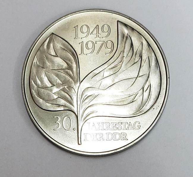 20 Mark Leaf 30 Years of DDR 1979-A D.R. Germany CuNi BU