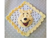 NEW Handmade Crochet Disney Winnie The Pooh Baby Comforter, Blankie, Blanket (can post)