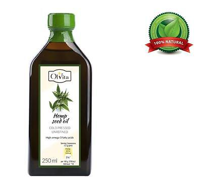 Hemp seed oil, cold-pressed and crude Ol'Vita 250 ml