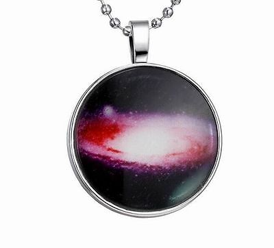 Stylish Women Galaxy Universe Glow In The Dark Stainless Steel Necklace Pendant