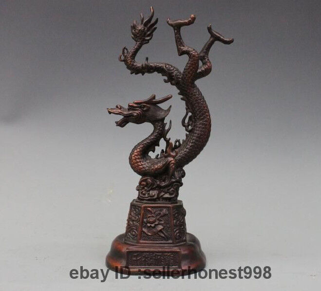 Chinese Fengshui Bronze Copper Lucky lifelike Flight Dragon Statue