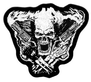 SKELETON-SKULL-W-PISTOL-MOTORCYCLE-PATCH-P2890-biker-new-bikers-item-novelty