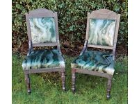 Pair of antique chairs; re-upholstered in striking marbled green velvet