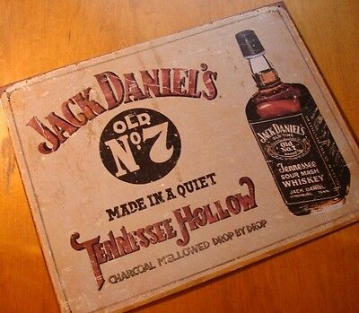 JACK DANIEL'S DANIELS TENNESSEE HOLLOW WHISKEY Rustic Old West Bottle Bar Sign