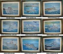 HMA Ships Paintings x9. GENUINE Paintings Signed by Artist-Framed Wembley Cambridge Area Preview