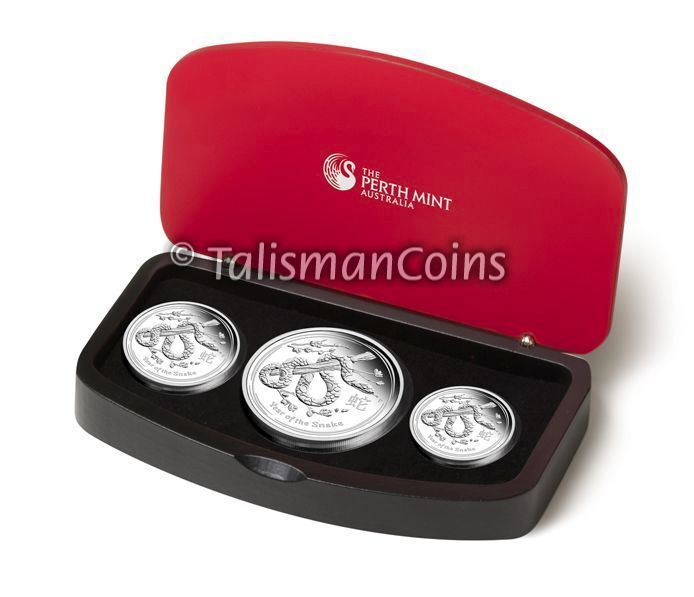Australia 2013 Year Snake Lunar Zodiac 3-Coin $1 Pure Silver Dollar Proof Set