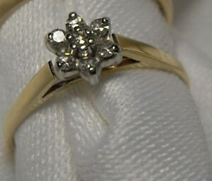 "10kt Gold Pre-engagement "" Diamond Cluster"" Engagement Ring"