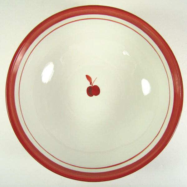 "Dansk Bing Round Vegetable Bowl 10"" Cherries Red Stripes Hand Painted"