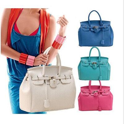 Lady Celebrity PU Leather Tote Handbag Lock Shoulder Designer Satchel bag JB Hot