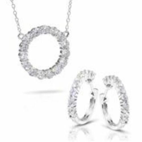 Stauer Sterling Silver Eternity Necklace & Earring Set; Brand New in Box  #47031
