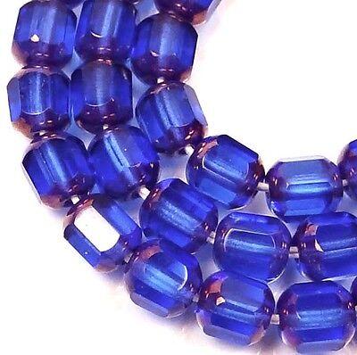 25 Czech Glass Antique Style Octagonal beads - Bronze: Sapphire 6mm