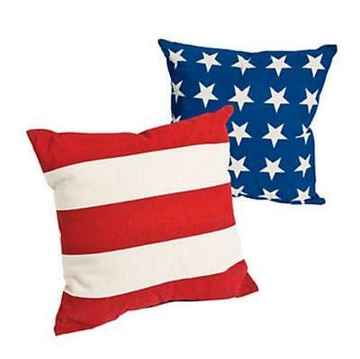Set of 2 Outdoor Stars & Stripes Patriotic Throw Pillows 14