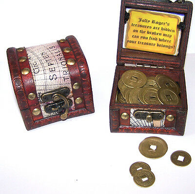 PIRATES TREASURE CHEST FULL OF COINS pirate box play money toy novelty coin box (Pirate Chest Toy Box)