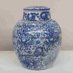 Ginger Jar Blue and White, 25cm, Toile Ginger Jar, Porcelain Vase with Lid,