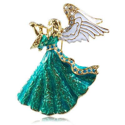 Fantastisches Geschenk (Fantastische Geschenk für Weihnachten Retro Grün Blau Engel Brosche BR158)