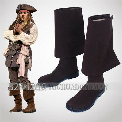 Hot Pirates of the Caribbean 5 V Jack Sparrow Cosplay Herren Stiefel Schuhe