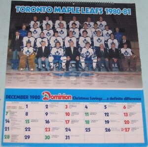 Toronto Maple Leads 1980-81 Calendar