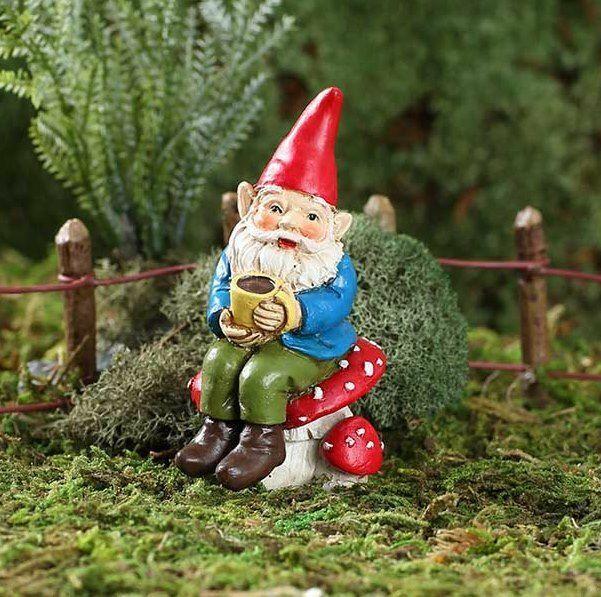Miniature Fairy Garden Soren, The Caffeinated Gnome Stake - Buy 3 Save $5